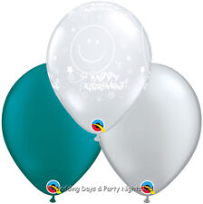 15 Clear Happy Retirement Teal Green Silver Helium/Air Balloons Party Decoration