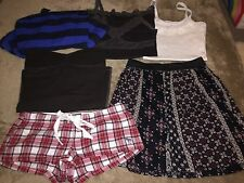 Lot Of 6 Hollister Abercrombie Tank Tube Tops Lace Skirt Shorts Plaid Women XS