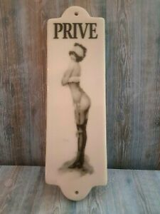 """Terrific Vintage Style1920's French Door Sign """"Privé"""" (Private) Saucy Pin Up!"""