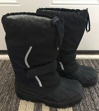 EUC Boys LL Bean Black and Blue Double Lined Snow Ski Winter Boots Youth Sz: 2