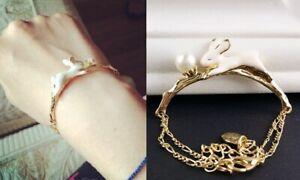 B364 Betsey Johnson Running Easter Bunny White Rabbit Gold Chain Bracelet  US