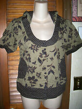 Charlotte Russe~NWT's sz L Olive& brown  Short sleeve scoop neck hooded button