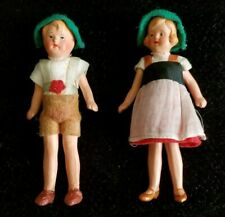 "Hansel And Gretel Couple 3.5"" Tall All Bisque German Jointed Vintage Figurines"