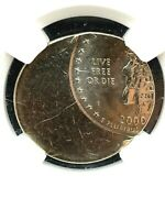 2000 New Hampshire State Quarter Coin - NGC Mint Error MS-67 Struck 50% Of CTR.