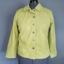 653510aaedd11 Drapers   Damons Petite Jacket Womens PL Green Floral Embroidered Button  Front