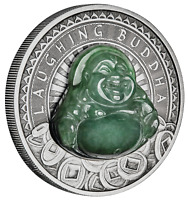 2019 LAUGHING BUDDHA $1 Dollar 1oz .9999 SILVER ANTIQUED JADE-Insert COIN