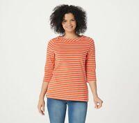 Denim & Co. Women's Essential Striped Jersey Boatneck Top (Tigerlily, M) A376908