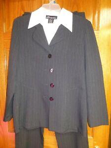 No Boundaries Pants Skirt Suit Womens Jr Size 9/10 Grey Pin Stripe 3-Pc Dickie