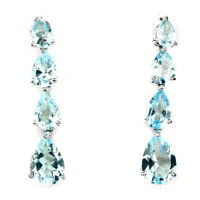 Ravishing Pear Cut 10x7 Mm Top Sky Blue Topaz 925 Sterling Silver Earrings
