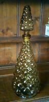 Vintage Italian Empoli Amber Bubble Glass Decanter Bottle 41cm