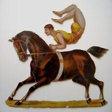 Vintage Die Cut of Circus Performer on Horseback - Doing Riding Trick  *