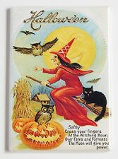 Red Witch on Broom FRIDGE MAGNET (2 x 3 inches) black cat pumpkin owl halloween