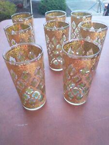 Vtg. 8 CULVER GREEN VALENCIA DIAMOND 22K GOLD HIGHBALL TUMBLER DRINK GLASS