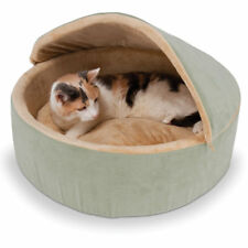 "Hammacher Warming Heated Large Cat/Small Dog Pet Bed w/Hood Round 20"" Diameter"