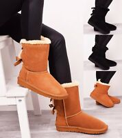 Ladies Women Winter Fur Real Genuine Leather Sheepskin Snow Boots Style Bow Shoe