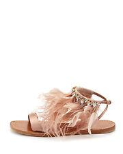 NEW $990 Miu Miu  Feather Crystal Satin Ankle Flat Sandals Neutral Beige 39/9