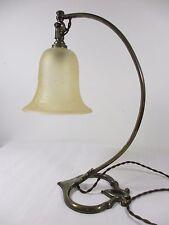 Lampe travail atelier Art Déco verre pressé bronze Bureau 1925 Vianne H: 35 cm