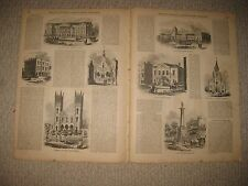 ANTIQUE 1855 MONTREAL CANADA PRINT 8 VIEWS MARKET BUILDINGS CHURCH CUSTOM HOUSE