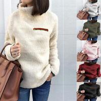 Womens Winter Fluffy Warm Fleece Sweater Tops Ladies High Neck Pullover JumpB ga