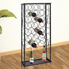 Black Wine Rack Bottle Holder Storage Metal Bar Pub Cellar 28 Bottles Display