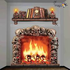 Halloween Scary Skull Fireplace Giant Horror Wall Party Decoration Scene Setter