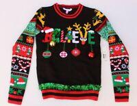 NOBO Ugly Christmas Sweater Juniors S (3-5) Believe Bells Ornaments Tinsel Black