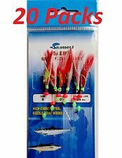 20 Packs Size #6 Sabiki Bait Rigs 6 Hooks Red feather Offshore Saltwater Lures