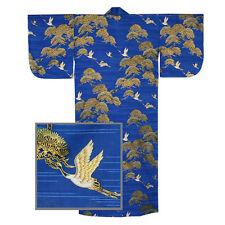 "Japanese Kimono Cotton Yukata PINE TSURU Crane Pattern/58""L/Blue/MADE IN JAPAN"