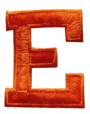 "1-3/4"" Orange Letter ""E"" Embroidery Iron On Applique Patch"