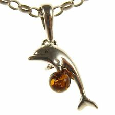 BALTIC AMBER STERLING SILVER 925 DOLPHIN PENDANT NECKLACE CHAIN JEWELLERY GIFT