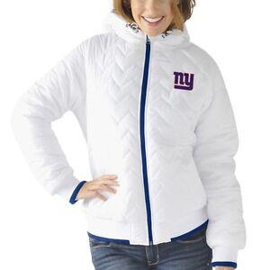 New York Giants Womens Drop Back Hooded Full Zip Jacket White by G-III