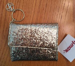 NEW Gold ADRIENNE VITTADINI Wallet Key Chain Coin Purse ID Clutch