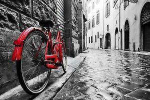 Black And White Amsterdam - Classic Red Bike Landscape Canvas Picture Prints