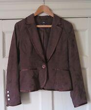 H&M Brown Cotton Damask Jacket- Size Eur 38 - Used VGC