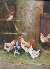 Old Oil on Board Painting Roosters Chickens Outside Coop Artist Signed H Clairon