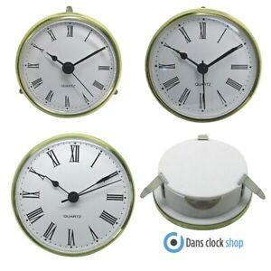 Quartz Gold Bezel Clock Inserts Roman Numbers Metal Clip Fit Shontek - DM-6001