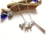 TEEN WOLF inspired silver TRISKELION / WOLF / BAT charm necklace - fan gift