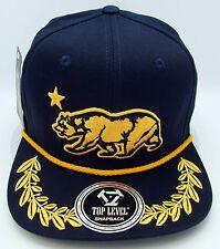 CALIFORNIA REPUBLIC BEAR Snapback Cap Hat Laurel Leaf Flat Bill OSFM Navy NWT