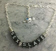 SEX SLAVE Silver Plated Chain Heart Charm BDSM Anklet/Ankle Bracelet