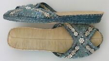 Vintage Ladies Beaded Sequined Sandals 1950's Slides Woven New Old Stock