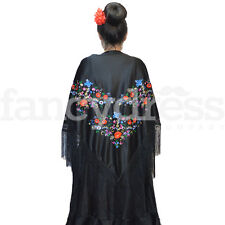 Gran Flamenco Español Chal Negro Multi bordado tradicional Flecos Nueva 017