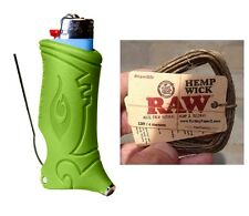 LIME GREEN TOKER POKER Lighter Case + 20ft of RAW Rolling Papers Brand Hemp Wick