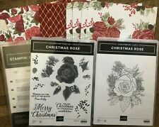 Stampin Up CHRISTMAS ROSES Stamp sets, ROSES DIES & DSP ~ Beautiful Gold foil