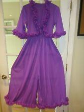 Vintage 60s Purple Lounging Lingerie Ruffled Glam Jumpsuit Medium