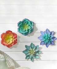 Colorful Wall Flower Petal Sculpture Country Patio Porch Balcony Lotus Rose Art