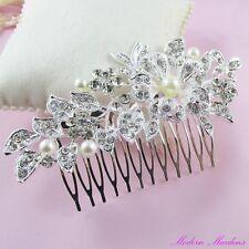 Pearl & Rhinestone Bridal Hair Comb Hair Accessory 90mm