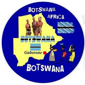 BOTSWANA MAP / FLAG ROUND SOUVENIR NOVELTY FRIDGE MAGNET / SIGHTS / NEW / GIFTS
