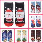 Fashion Unisex 3D Cartoon Christmas Snowman Santa Socks Soft Low Cut Ankle Socks