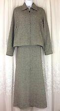 Liz Claiborne Sport Suit Set Tweed 10 Skirt Blazer M Jacket Zip Lined Women EUC