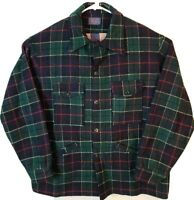 Pendleton 100% Virgin Wool Heavy Jacket Coat Mens XL Green Plaid Vintage 1970s